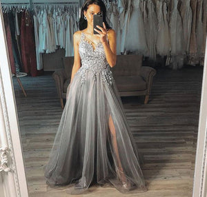 Grey V Neck Sleeveless A Line Side Slit Long Prom Dresses With Lace