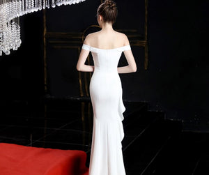 Elegant Off Shoulder Backless Prom Dresses Side Slit Evening Dresses