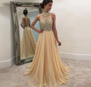 Champagne Halter Sleeveless Open Back Prom Dresses With Beading