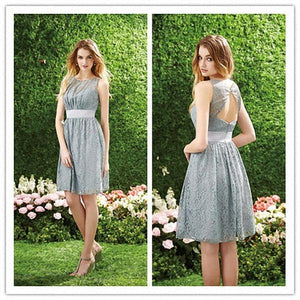 Silver Lace Sleeveless A Line Open Back Knee Length  Bridesmaid Dresses Cheap Prom Dresses
