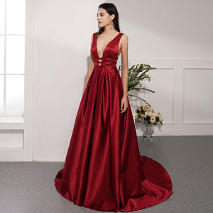 Sexy Burgundy V Neck Sleeveless Prom Dresses Backless Evening Dresses