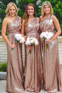 Rose Gold One Shoulder Slim Line Long Bridesmaid Dresses Sequin Prom Dresses - NICEOO