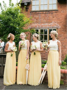 Fashion Yellow Round Neck Sleeveless Chiffon Bridesmaid Dresses Best Evening Dresses