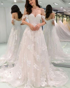 Sweetheart Off Shoulder Wedding Dresses Lace Applique Bridal Gown
