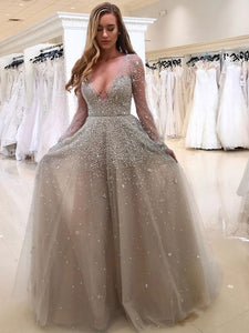 Grey Deep V Neck Long Sleeve A Line Tulle Prom Dresses With Crystals