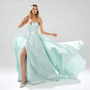Spaghetti Strap Sleeveless Side Slit Prom Dresses Long Evening Dresses