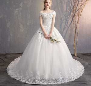 White Off Shoulder Lace Appliques Wedding Dresses Beaded Bridal Gown