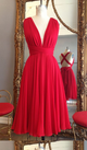 A Line Red V Neck Cut Out Short Bridesmaid Dresses Cheap Prom Dresses With Bow - NICEOO