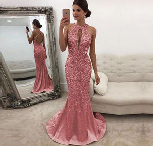 Sexy Sleeveless Open Back Mermaid Prom Dresses Beaded Evening Dresses