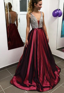 Sexy Deep V Neck Sleeveless Beading A Line Satin Prom Dresses