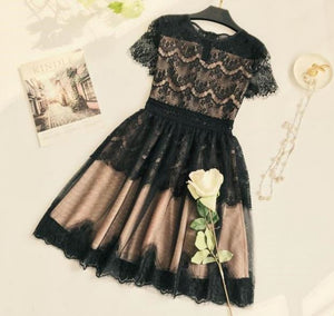 Scoop Neck Short Sleeve A Line Homecoming Dresses With Black Lace