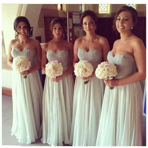 Sexy White Strapless Empire Waist A Line Chiffon Bridesmaid Dresses Prom Dresses