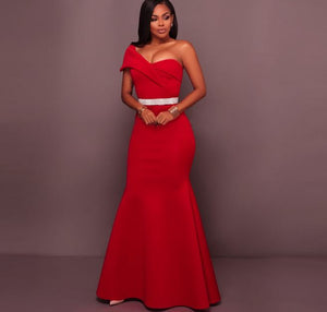 Sexy Red One Shoulder Sleeveless Prom Dresses Mermaid Evening Dresses