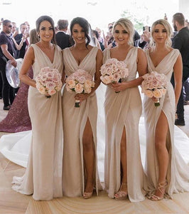 V Neck Sleeveless Side Slit Chiffon Cheap Bridesmaid Dresses