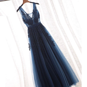 Fashion A-Line V Neck long Tulle prom dresses lace Evening Dress