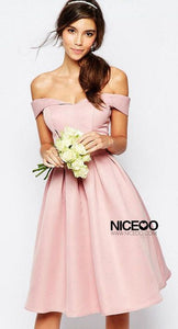 Cute Pink Sweetheart Off Shoulder Satin Evening Dresses Prom Dresses