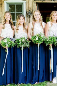 Royal Blue Bridesmaid Dress with Round Neck Lace Skirt