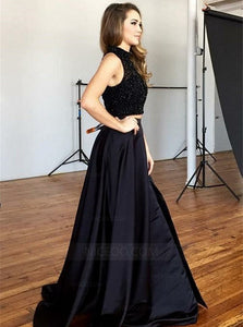 Black Two Pieces Round Neck Sleeveless Side Split Prom Dresses Evening Dresses - NICEOO