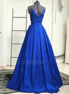 Royal Blue Spaghetti Strap V Neck Open Back Prom Dresses Evening Dresses - NICEOO