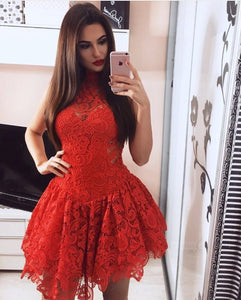 Red Round Neck Sleeveless Mini Homecoming Dresses Evening Dresses - NICEOO