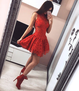Red Round Neck Sleeveless Mini Homecoming Dresses Evening Dresses