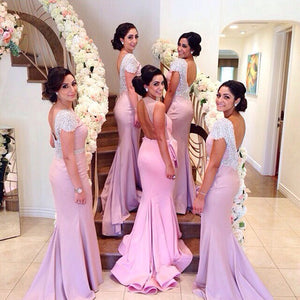 Sexy Pink Round Neck Open Back Beading Slim Line Mermaid Satin Evening Dresses Prom Dresses - NICEOO