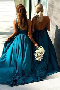 Long Boho Style Bridesmaid Gown V Neck Chiffon Skirt