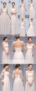 Elegant White Six Styles Sweetheart Sleeveless Empire Waist Chiffon Bridesmaid Dresses Evening Dresses - NICEOO