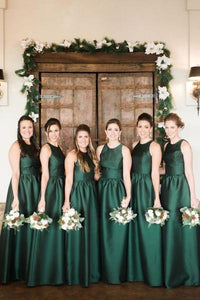 Dark Green Satin Bridesmaid Gowns Round Neck Sleeveless dress