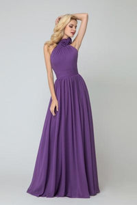Flower High-neck Bridesmaid Dresses Elegant Chiffon Skirt