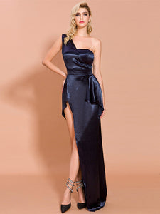Sexy Navy Blue Sleeveless Backless Prom Dresses Slit Evening Dresses