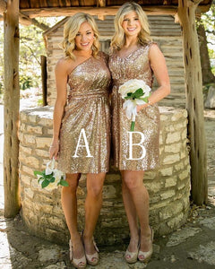 Simple Gold Two Styles V Neck Strap Sleeveless Affordable Mini Sequin Bridesmaid Dresses Prom Dresses - NICEOO
