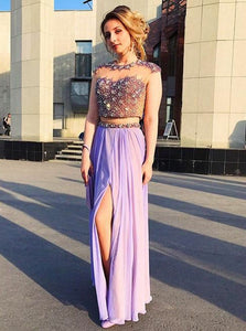 Cute Lilac Two Pieces Round Neck Side Split Long Chiffon Prom Dresses Homecoming Dresses With Rhinestones - NICEOO