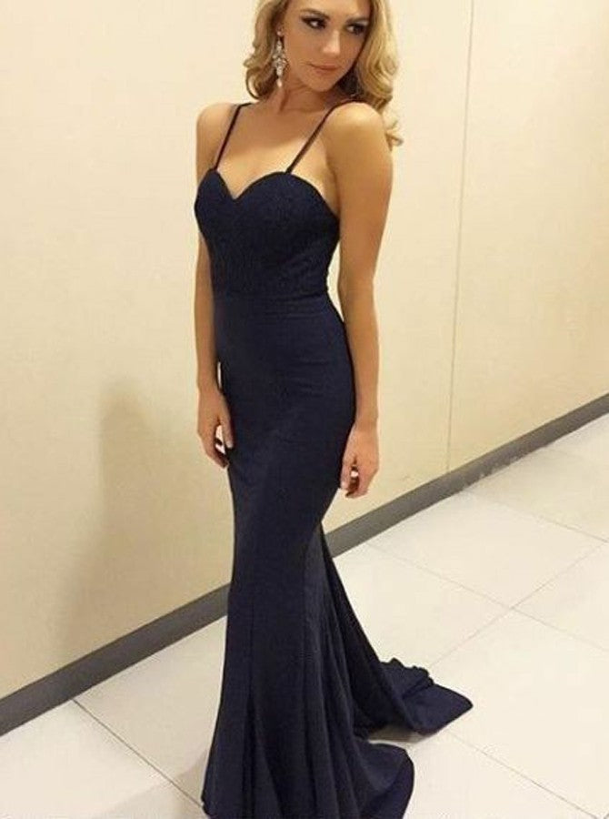 Navy Blue Spaghetti Strap Sweetheart Prom Dresses Evening Dresses