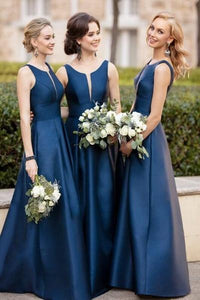 Elegant Sleeveless Dark Blue Bridesmaid Dresses Satin Skirt