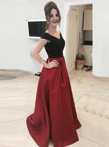 A Line V Neck Off Shoulder Satin Prom Dresses Evening Dresses - NICEOO