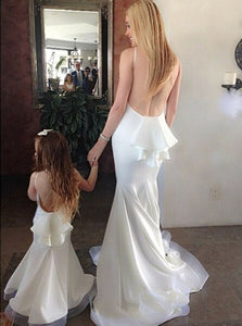 White Mermaid Round Neck Open Back Satin Bridesmaid Dresses