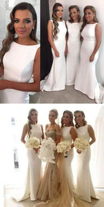 Round Neck Ivory Bridesmaid Dress Wedding Party skirt