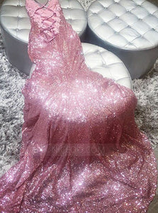 Rose Gold Spaghetti Strap V Neck Prom Dresses Evening Dresses With Sequin - NICEOO