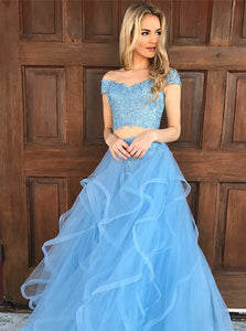 Blue Two Pieces Off Shoulder V Neck Prom Dresses Homecoming Dresses - NICEOO
