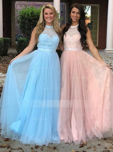 Pink A Line Halter Open Back Lace Prom Dresses Homecoming Dresses