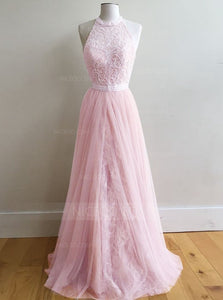 Pink A Line Halter Open Back Lace Prom Dresses Homecoming Dresses - NICEOO