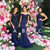 Elegant Navy Blue Three Styles Sleeveless Mermaid Satin Bridesmaid Dresses Prom Dresses - NICEOO