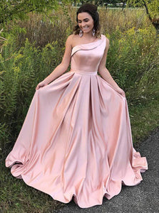 Light Pink A Line One Shoulder Satin Prom Dresses Ball Gowns - NICEOO