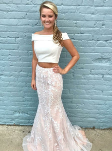 Mermaid Off Shoulder Two Pieces Prom Dresses Homecoming Dresses