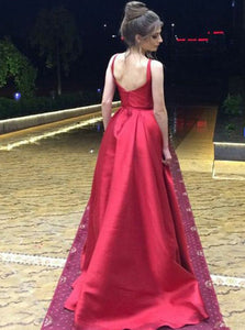 A Line Round Neck Open Back Sleeveless Prom Dresses Ball Gowns - NICEOO