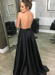 A Line Deep V Neck Open Back Prom Dresses Military Ball Dresses - NICEOO