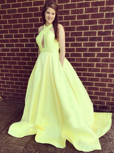 Yellow A Line Halter Cut Out Prom Dresses Ball Gowns