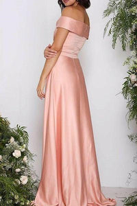 Elegant Pink Off shoulder Satin Long Bridesmaid Dress