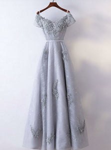 Simple Gray A Line Off Shoulder Short Sleeves Prom Dresses